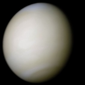 Venus is the second planet from the sun and is the brightest object in the night sky (other than the moon). It was once mistakenly called both the Morning and Evening Star. Photo: NASA, image processing by R. Nunes (www.astrosurf.com/nunes)