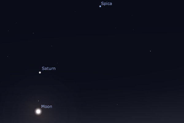 The moon lies below Saturn on March 29 (Screengrab: Stellarium)