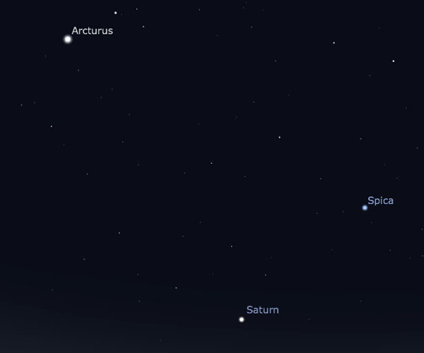 Looking east at about 10:00 pm Central Daylight time, the planet Saturn is the lowest point in a triangle with the bright stars Arcturus and Spica. Arcturus is the brighter of the two. (Screengrab: Stellarium)
