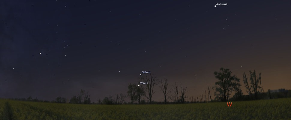 Venus and Saturn in the western sky