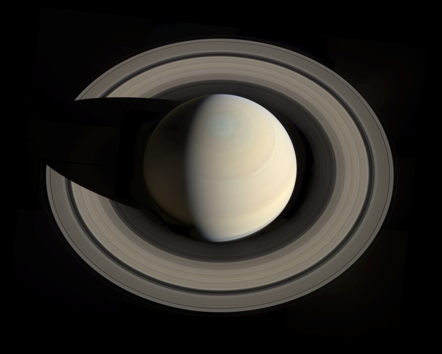 Saturn from above the North Pole