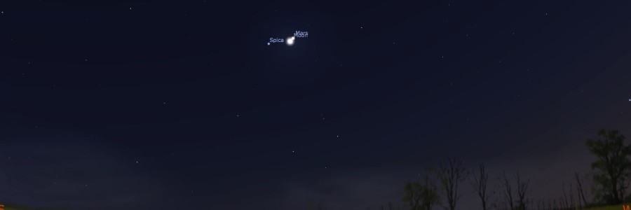 Moon, Mars, and Spica on July 5