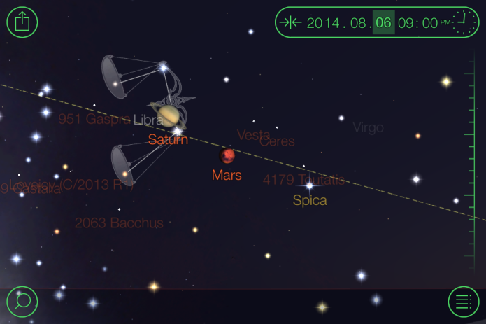 Spica, Mars, and Saturn