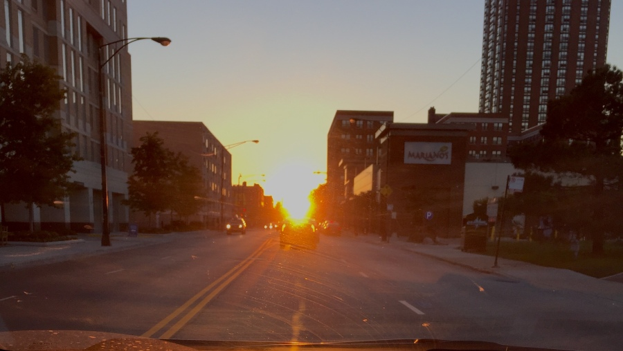 Sunset at equinox